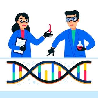 Wissenschaftler, die im nanotechnologie- oder biochemielabor arbeiten Premium Vektoren