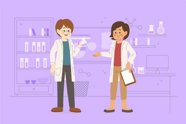 Wissenschaftler, die in einem labor zusammenarbeiten, illustriert
