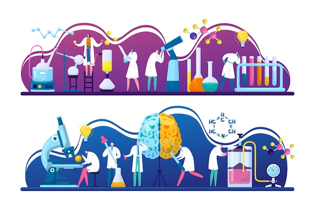 Wissenschaftler entdecken forschung in chemie, biologie oder medizin