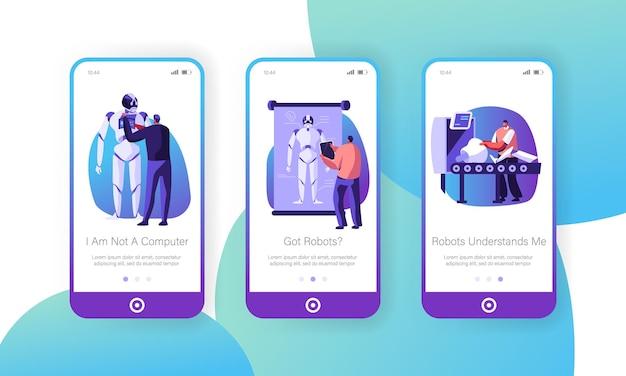 Wissenschaftler erstellen cyborgs im onboard-screen-set der mobilen labor-app-seite
