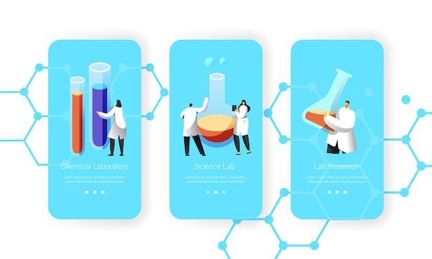 Wissenschaftler halten in der hand flasche mit chemischer flüssigkeit mobile app seite onboard screen set.