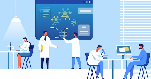 Wissenschaftler im labor, nanotechnologie.