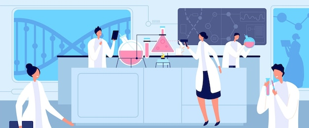 Wissenschaftler im medizinischen labor. chemische fachleute, biologische medizinische laborforschung. vektorkonzept für die genetische oder pharmazeutische industrie. illustration medizinische laborchemie, technologieforschung