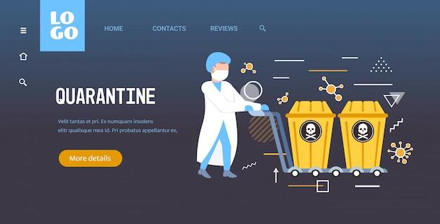 Wissenschaftler in maske schiebt biogefährdungsbehälter mit schädel und knochen auf wagenstopp coronavirus-epidemie mers-cov-konzept wuhan 2019-ncov pandemie gesundheitsrisiko voller länge horizontalen kopierraum