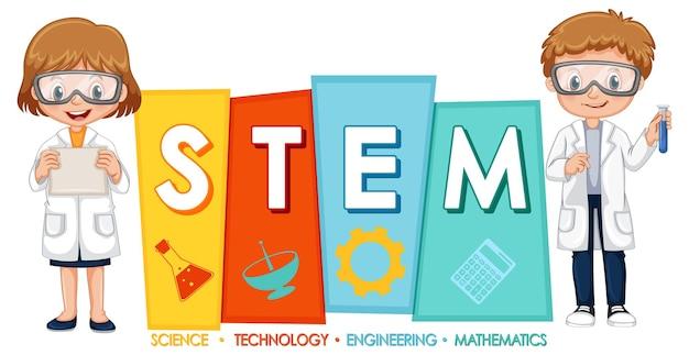 Wissenschaftler-kinder-cartoon-figur mit stem-logo-banner