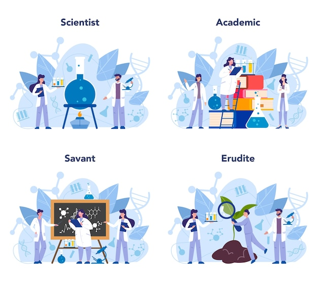 Wissenschaftler-konzeptsatz