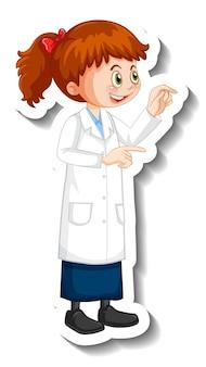 Wissenschaftler-mädchen-cartoon-figur in stehender pose