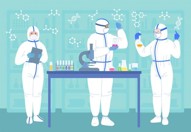 Wissenschaftler männer, frauen in maske, weiße schutzanzüge. chemische laborforschung flache zeichentrickfigur. entdeckungsimpfstoff. wissenschaftler mit flaschen, mikroskop
