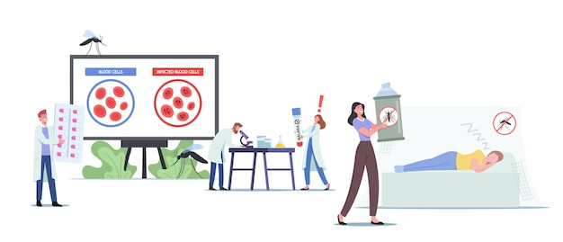 Wissenschaftler männliche und weibliche charaktere lernen malaria-krankheit. winziger mikrobiologie-arzt bei riesigen infografiken, die gesunde und kranke zellen in der innenansicht präsentieren. cartoon-menschen-vektor-illustration