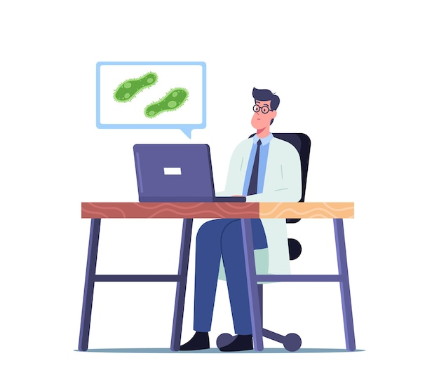 Wissenschaftler männlicher charakter im laborkittel, der am laptop arbeitet, informationen liest und protozoen einzelliges paramecium caudatum im labor lernt. biologie wissenschaft. cartoon-menschen-vektor-illustration