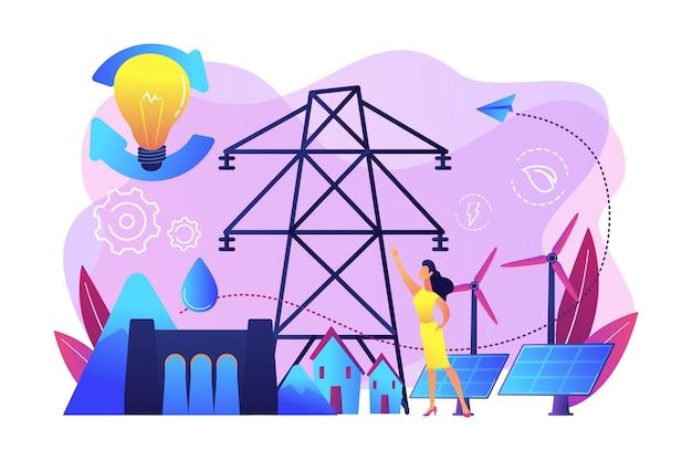 Wissenschaftler mit ideen für nachhaltige entwicklung sonnenkollektoren, wasserkraft, wind. nachhaltige energie, zukunftsorientierte energie, intelligentes energiesystemkonzept.