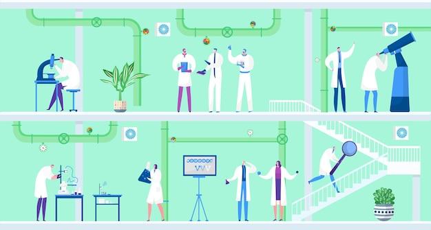 Wissenschaftler mit laborausrüstung machen chemieexperiment vektor illustration mann frau charakter...