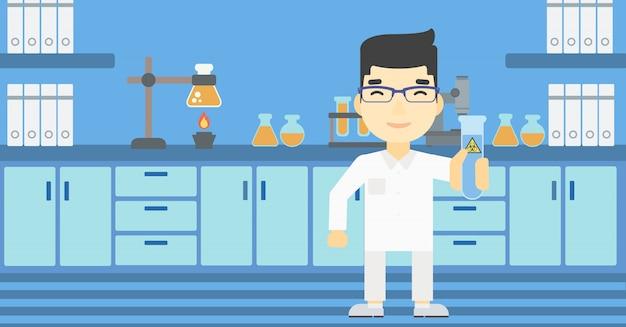 Wissenschaftler mit reagenzglasvektorillustration.
