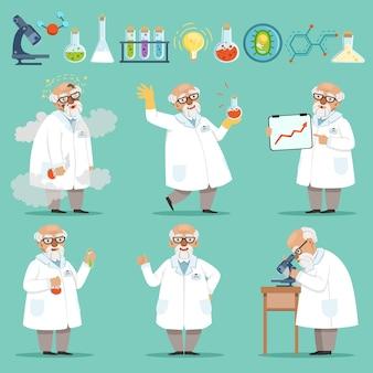 Wissenschaftler oder chemiker bei seiner arbeit. unterschiedliches zubehör im wissenschaftslabor. lustiges wissenschaftlerchemikerexperiment und forschungsillustration