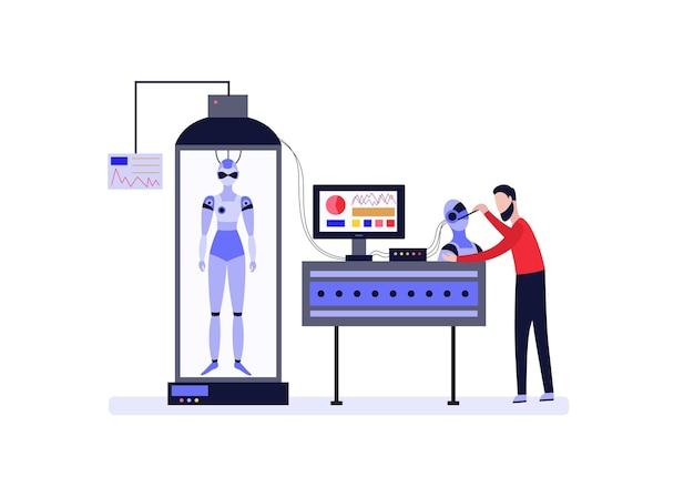 Wissenschaftler oder entwickler ingenieur erfindet und android roboter maschine
