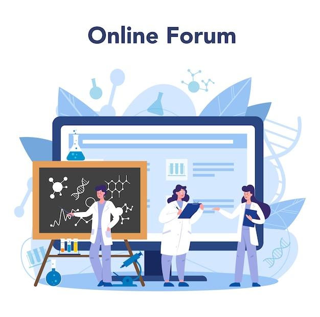 Wissenschaftler online-service oder plattform. idee von bildung und innovation. online forum. isolierte flache illustration