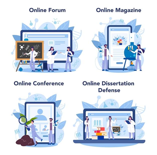 Wissenschaftler online-service oder plattform-set