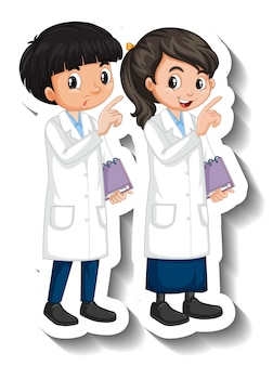 Wissenschaftler paar kinder cartoon charakter aufkleber