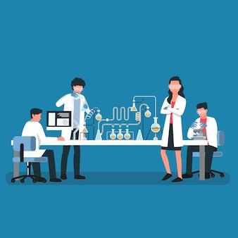 Wissenschaftler teamwork, illustration zeichentrickfigur.