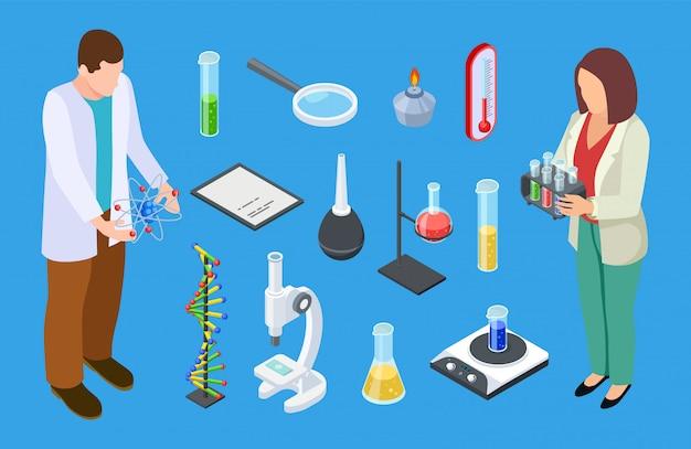Wissenschaftler und experimentelle ausrüstung. vektorsatz für isometrische chemische oder medizinische laborgeräte