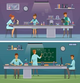 Wissenschaftler und laborassistenten, die in horizontalen retro- karikaturfahnen des labors und des büros 2 arbeiten