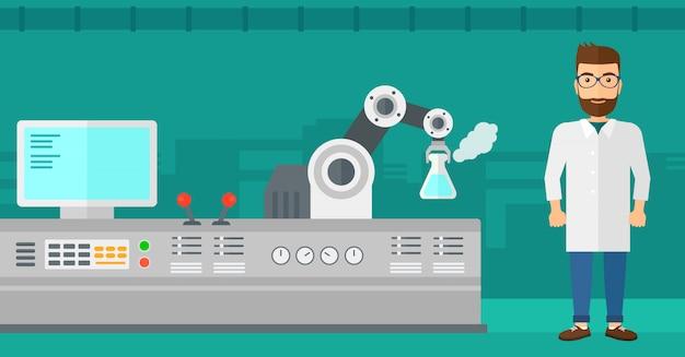 Wissenschaftler und roboter führen experimente durch.