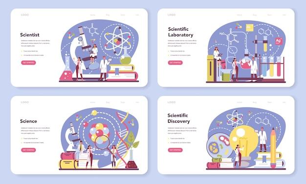 Wissenschaftler-webbanner oder landingpage-set