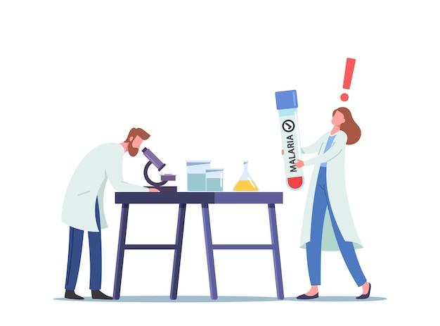 Wissenschaftler wissenschaftliche forschung im wissenschaftslabor mit blut, das mit malaria infiziert ist, mann schaut im mikroskop, frau techniker halten kolben. chemie, mikrobiologie wissenschaft. cartoon-vektor-illustration