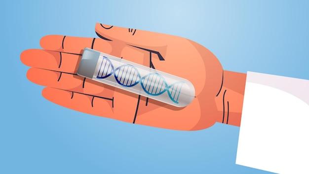 Wissenschaftlerhand, die mit dna in reagenzglasforschern arbeitet, die experimente im labor machen dna-testen der genetischen diagnose