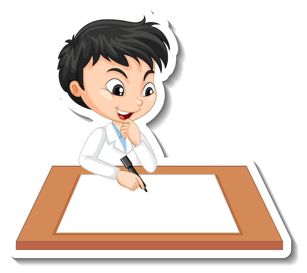Wissenschaftlerjunge-cartoon-figur mit leerem tisch