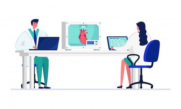 Wissenschaftlerleute in der innovationslaborillustration, karikaturdoktorfiguren, die menschliches herz auf weiß studieren