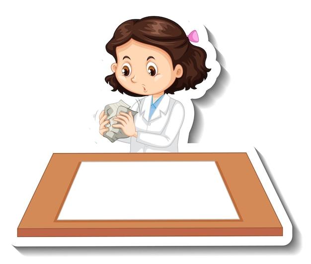 Wissenschaftlermädchenzeichentrickfilm-figur mit leerem tisch