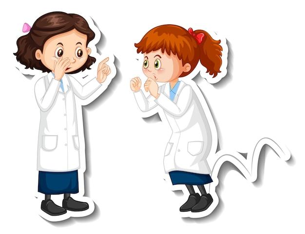 Wissenschaftlermädchenzeichentrickfilm-figuren mit wissenschaftsexperimentobjekt