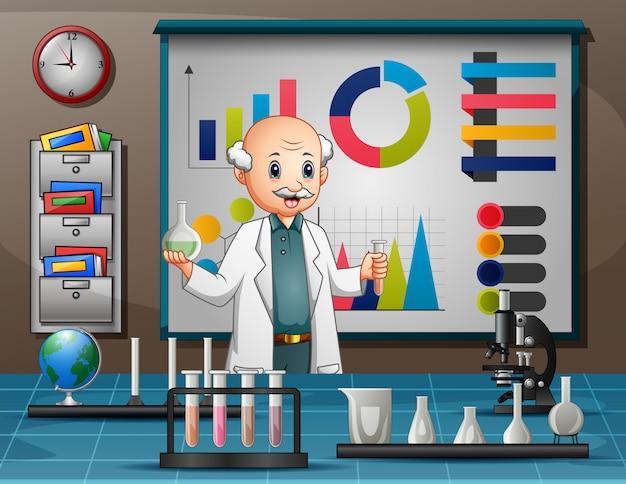 Wissenschaftlermann, der forschung in einem labor durchführt