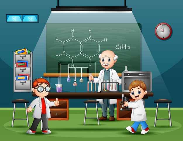 Wissenschaftlermann im laborraum mit kindern