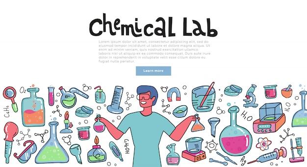 Wissenschaftlermann mit einem chemieglas chemische reaktion erklärend. bildungskonzept der chemiewissenschaft für fahnen.