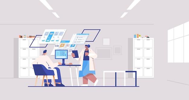 Wissenschaftlerteam analysiert medizinische daten auf virtuellen brettern medizin gesundheitswesen