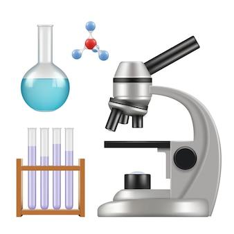 Wissenschaftliche ausrüstung. mikroskop wissenschaftliche chemische laborgegenstände glaszylinder und röhrchen becher pipette realistisch