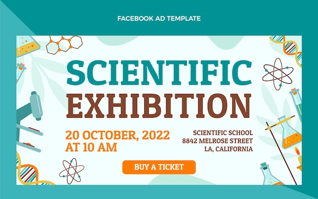 Wissenschaftliche ausstellung facebook-vorlage