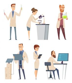 Wissenschaftliche charaktere. pharmazeut moderner biologe techniker ausbilder arbeiten bei laborforschern