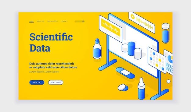 Wissenschaftliche daten. isometrische vektorvorderseite mit elementen von bord- und laborgeräten, die informationen über aktuelle wissenschaftliche daten präsentieren. webbanner, zielseitenvorlage