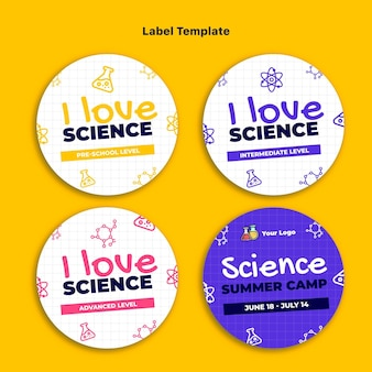 Wissenschaftliche etikettensammlung im flachen design