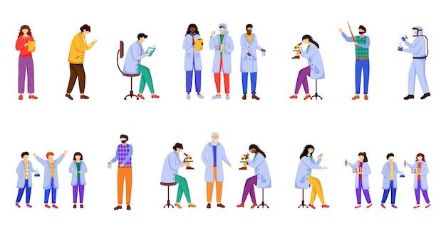 Wissenschaftliche experimente flacher illustrationssatz