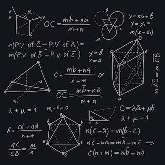 Wissenschaftliche formeln des handgezeichneten entwurfs
