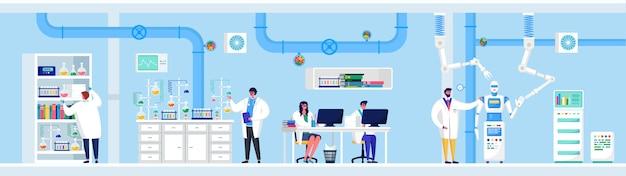 Wissenschaftliche forschung in laborillustrationen, cartoon flat people wissenschaftler machen laborexperimente, arbeiten am computer, analysegeräte