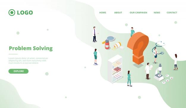 Wissenschaftliche forschung zur lösung von problemen im gesundheitswesen für website-vorlagen oder landing-homepage-website