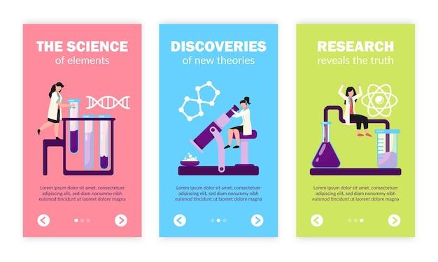 Wissenschaftliche forschungslabortests entdecken atom-dna-molekülstruktur-symbole, flache vertikale banner gesetzt