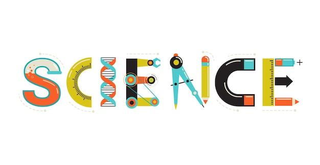 Wissenschaftliche illustration mit typografie