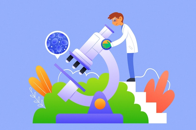 Wissenschaftliche konzeptillustration mit mikroskop