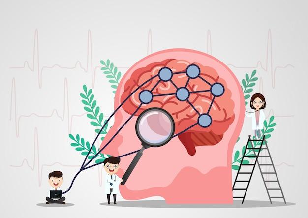 Wissenschaftliche medizinische illustration der anschlagillustration des menschlichen gehirns